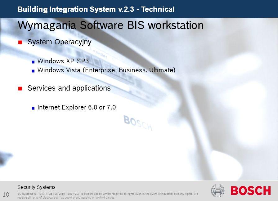 Wymagania Software BIS workstation