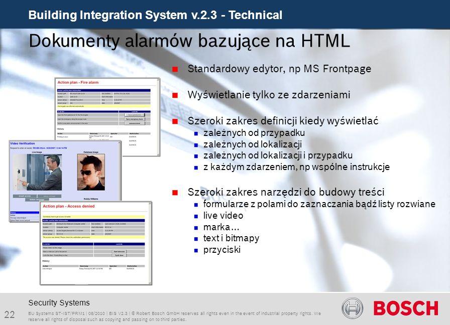 Dokumenty alarmów bazujące na HTML