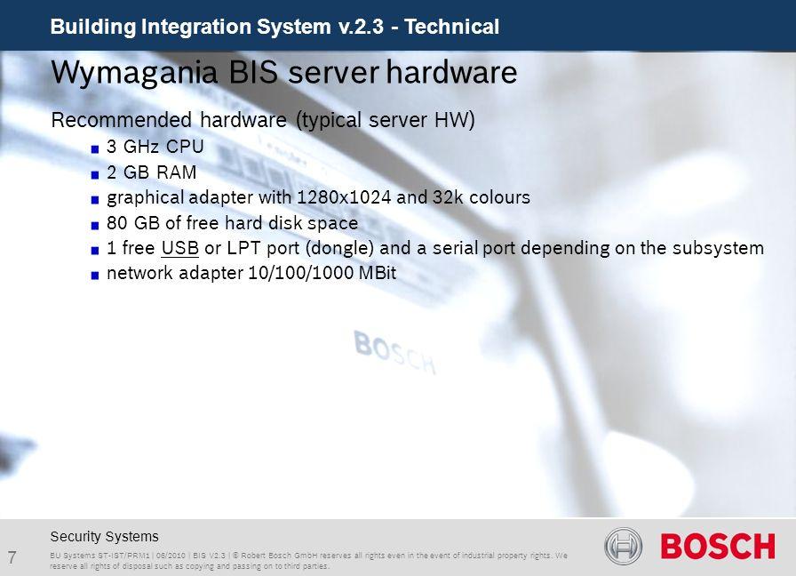 Wymagania BIS server hardware