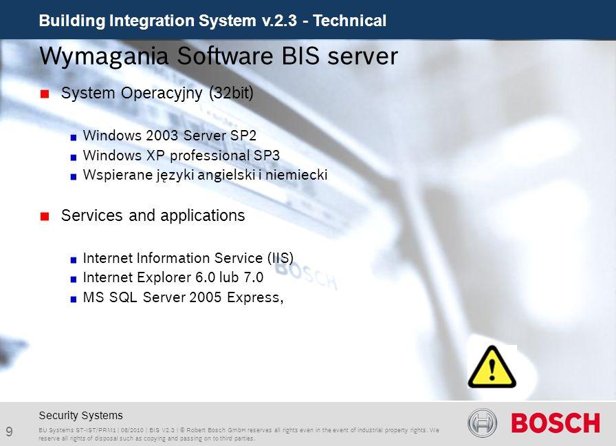 Wymagania Software BIS server