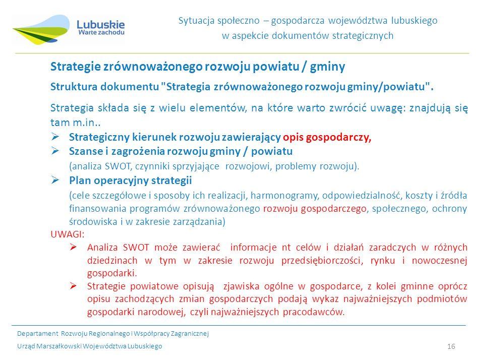 Strategie zrównoważonego rozwoju powiatu / gminy