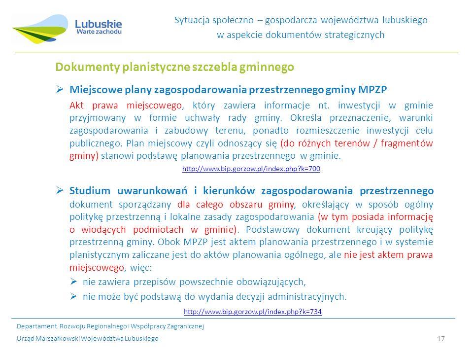 Dokumenty planistyczne szczebla gminnego