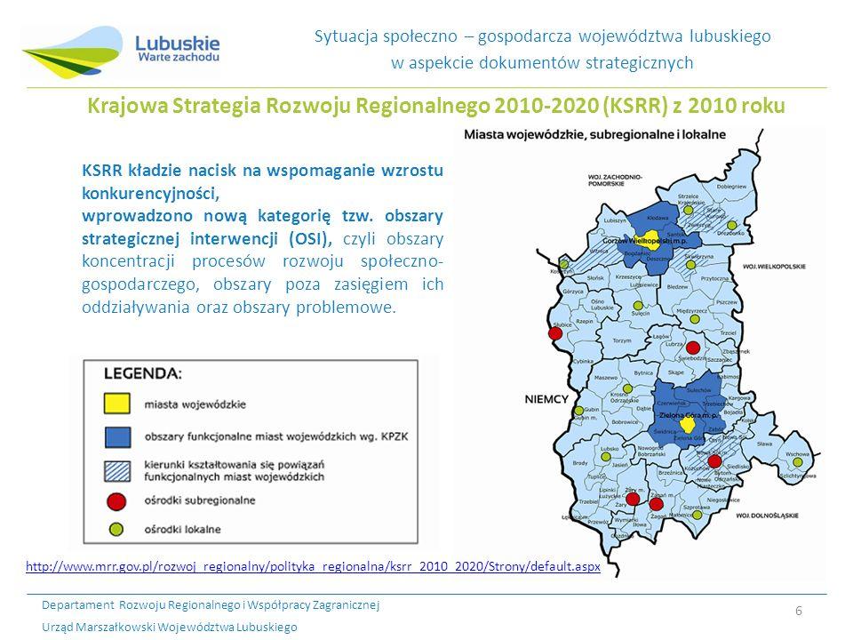 Krajowa Strategia Rozwoju Regionalnego 2010-2020 (KSRR) z 2010 roku
