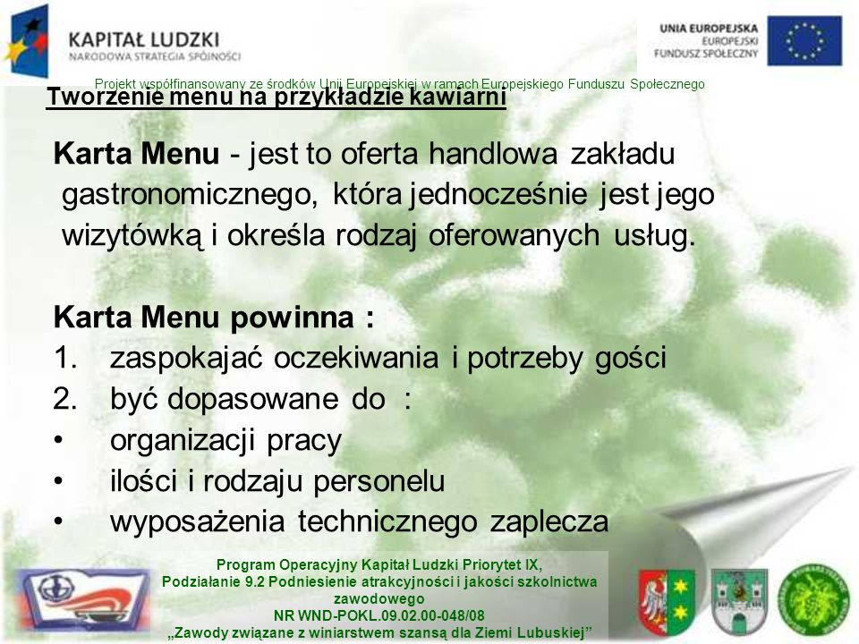 Tworzenie menu na przykładzie kawiarni
