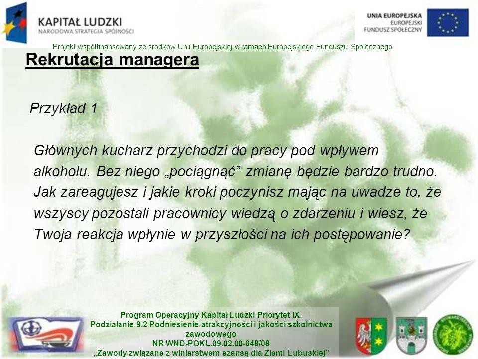 Rekrutacja managera Przykład 1