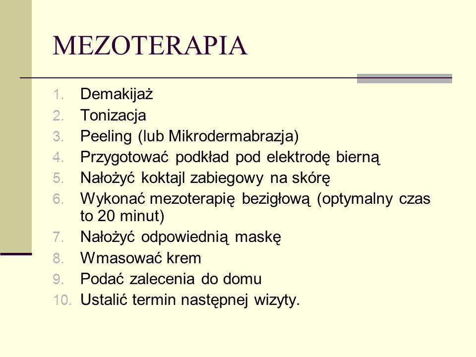MEZOTERAPIA Demakijaż Tonizacja Peeling (lub Mikrodermabrazja)