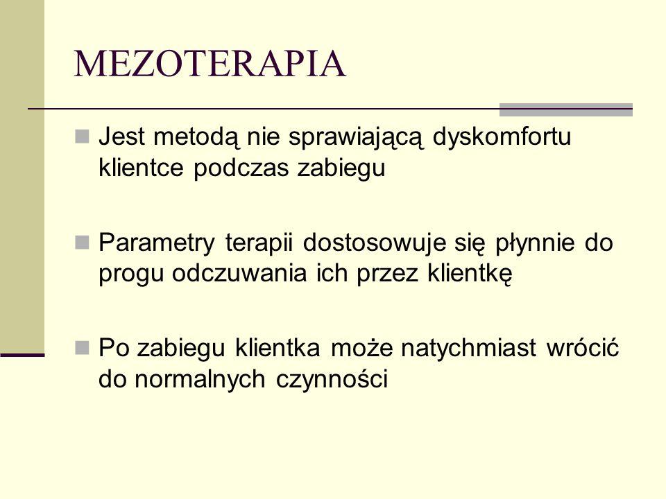 MEZOTERAPIA Jest metodą nie sprawiającą dyskomfortu klientce podczas zabiegu.