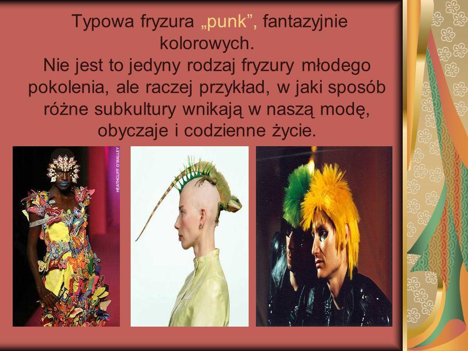 """Typowa fryzura """"punk , fantazyjnie kolorowych"""