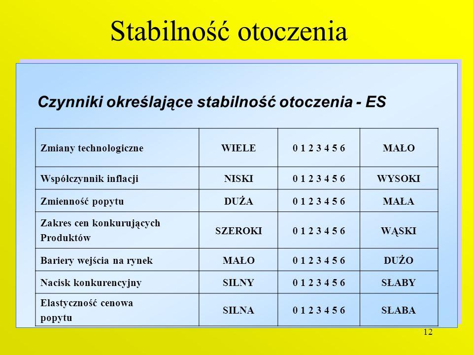 Czynniki określające stabilność otoczenia - ES