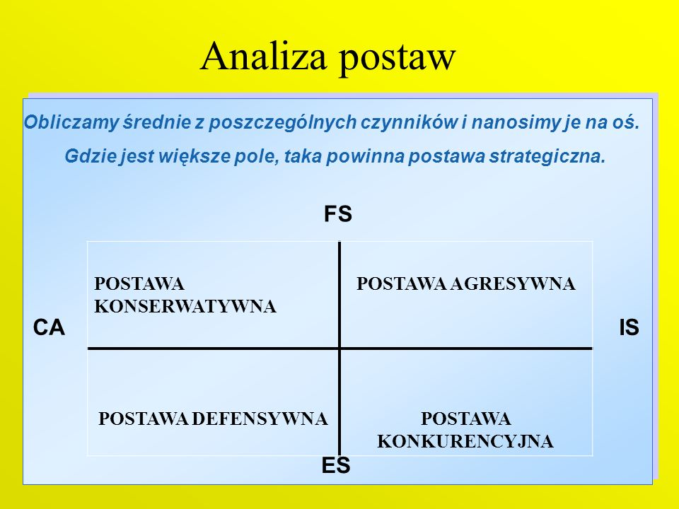 Analiza postaw FS CA IS ES