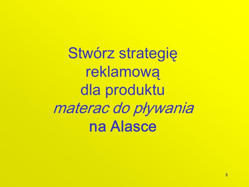Stwórz strategię reklamową dla produktu materac do pływania na Alasce
