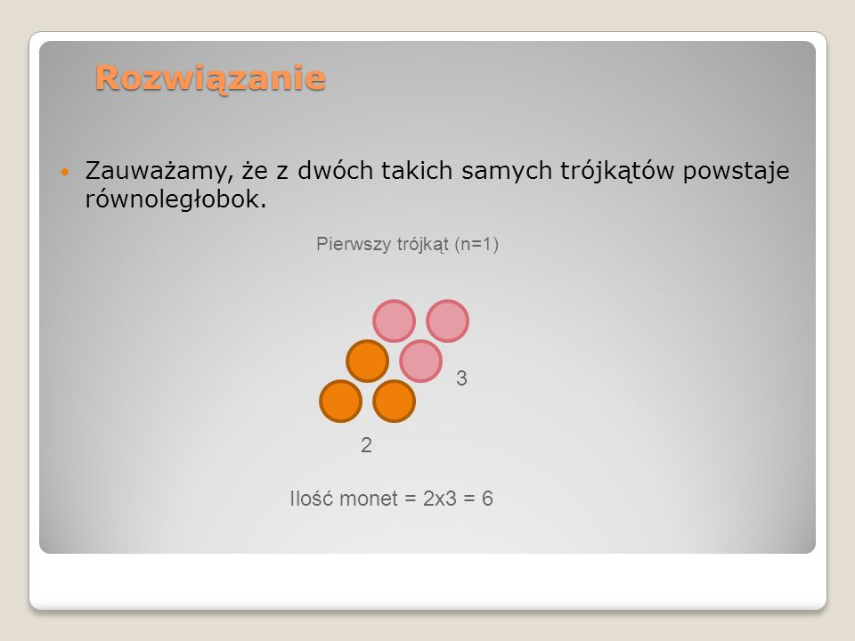 Rozwiązanie Zauważamy, że z dwóch takich samych trójkątów powstaje równoległobok. Pierwszy trójkąt (n=1)