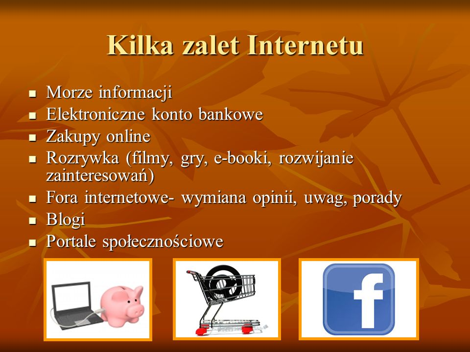 Kilka zalet Internetu Morze informacji Elektroniczne konto bankowe