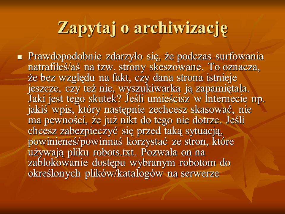 Zapytaj o archiwizację
