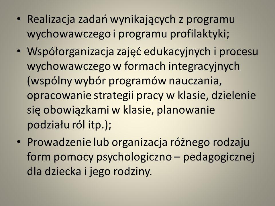 Realizacja zadań wynikających z programu wychowawczego i programu profilaktyki;