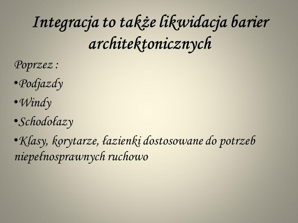 Integracja to także likwidacja barier architektonicznych
