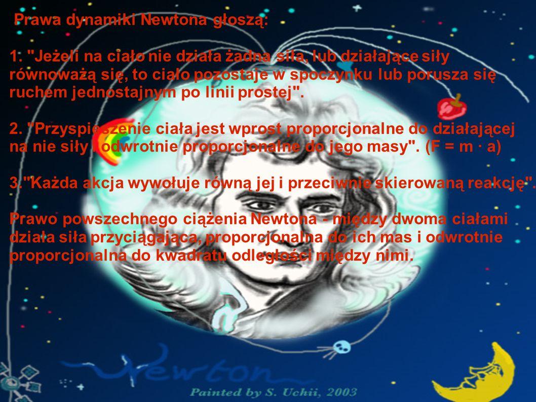 Prawa dynamiki Newtona głoszą: