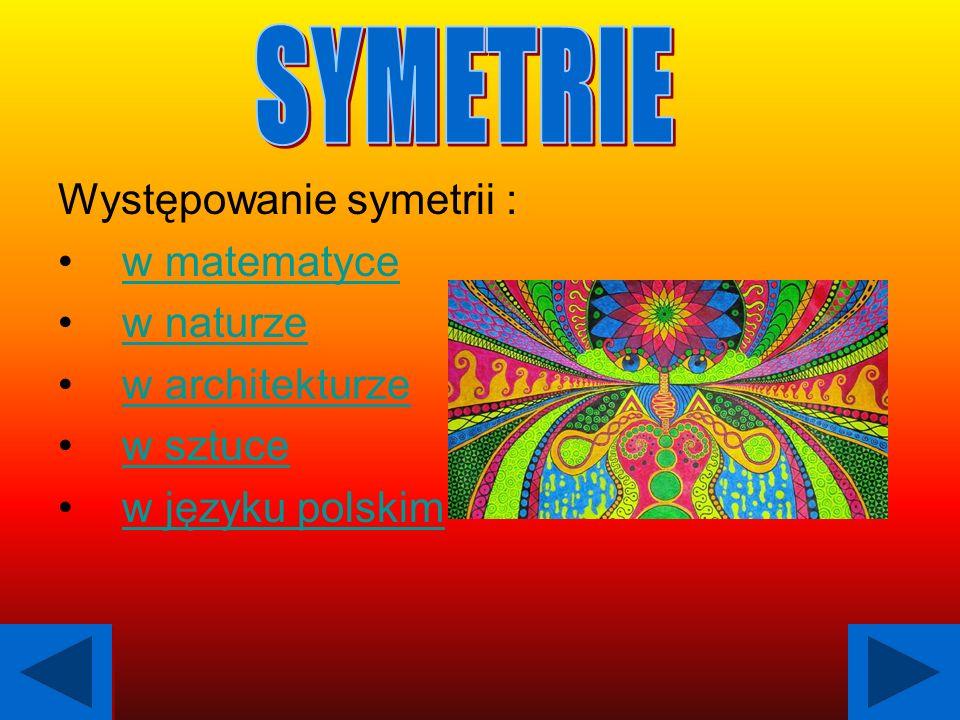 SYMETRIE Występowanie symetrii : w matematyce w naturze