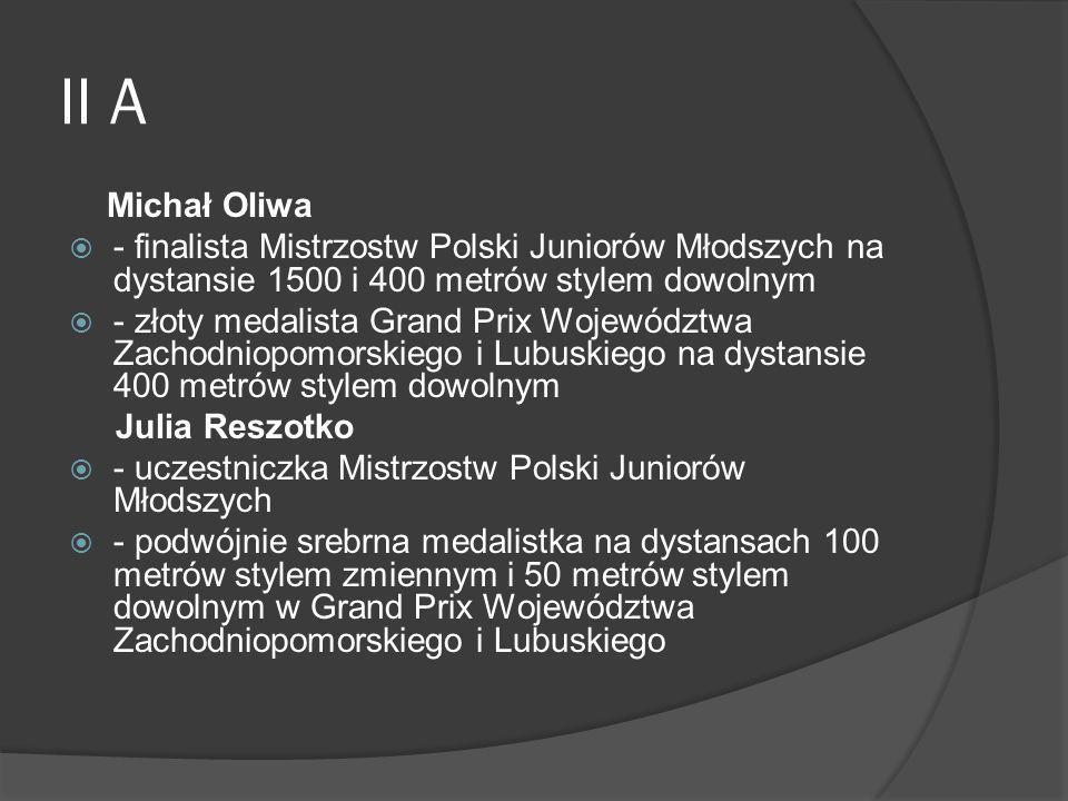 II A Michał Oliwa. - finalista Mistrzostw Polski Juniorów Młodszych na dystansie 1500 i 400 metrów stylem dowolnym.
