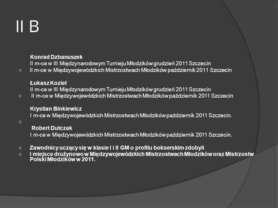 II B Konrad Dzbanuszek. II m-ce w III Międzynarodowym Turnieju Młodzików grudzień 2011 Szczecin.