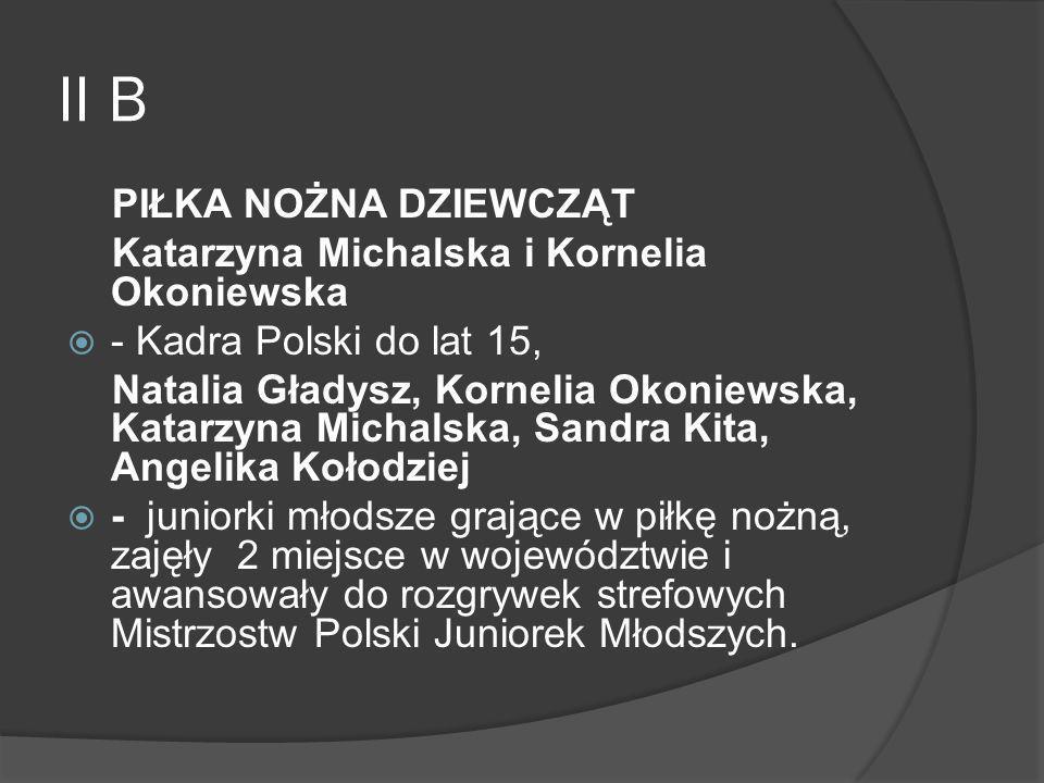 II B PIŁKA NOŻNA DZIEWCZĄT Katarzyna Michalska i Kornelia Okoniewska