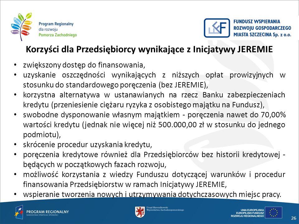 Korzyści dla Przedsiębiorcy wynikające z Inicjatywy JEREMIE