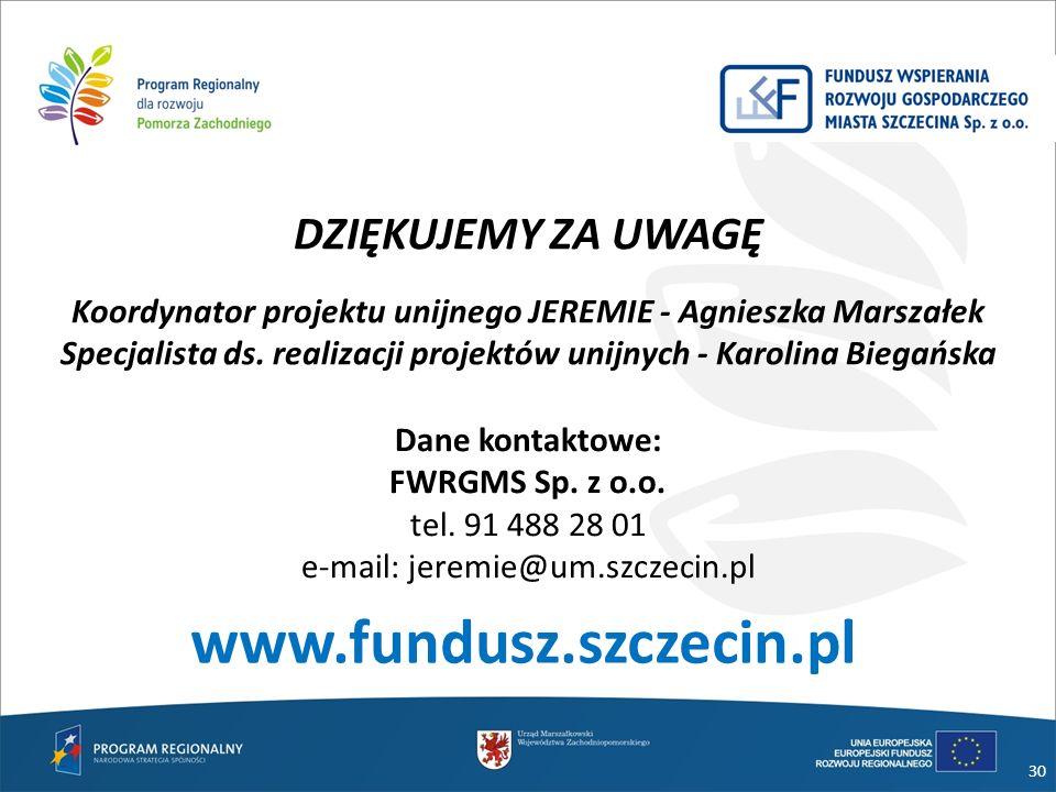 www.fundusz.szczecin.pl DZIĘKUJEMY ZA UWAGĘ