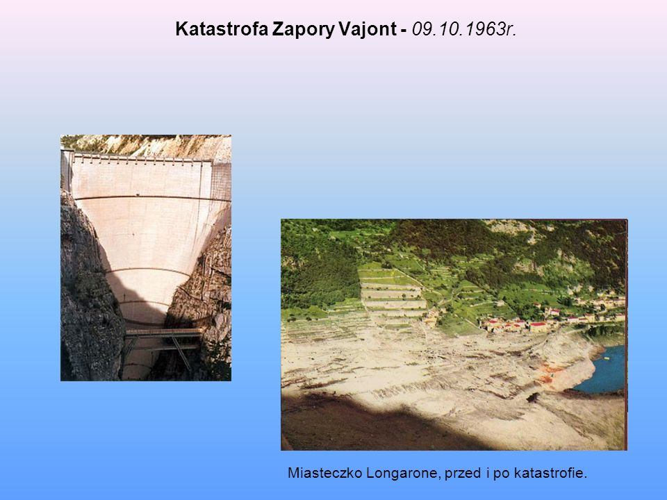Katastrofa Zapory Vajont - 09.10.1963r.
