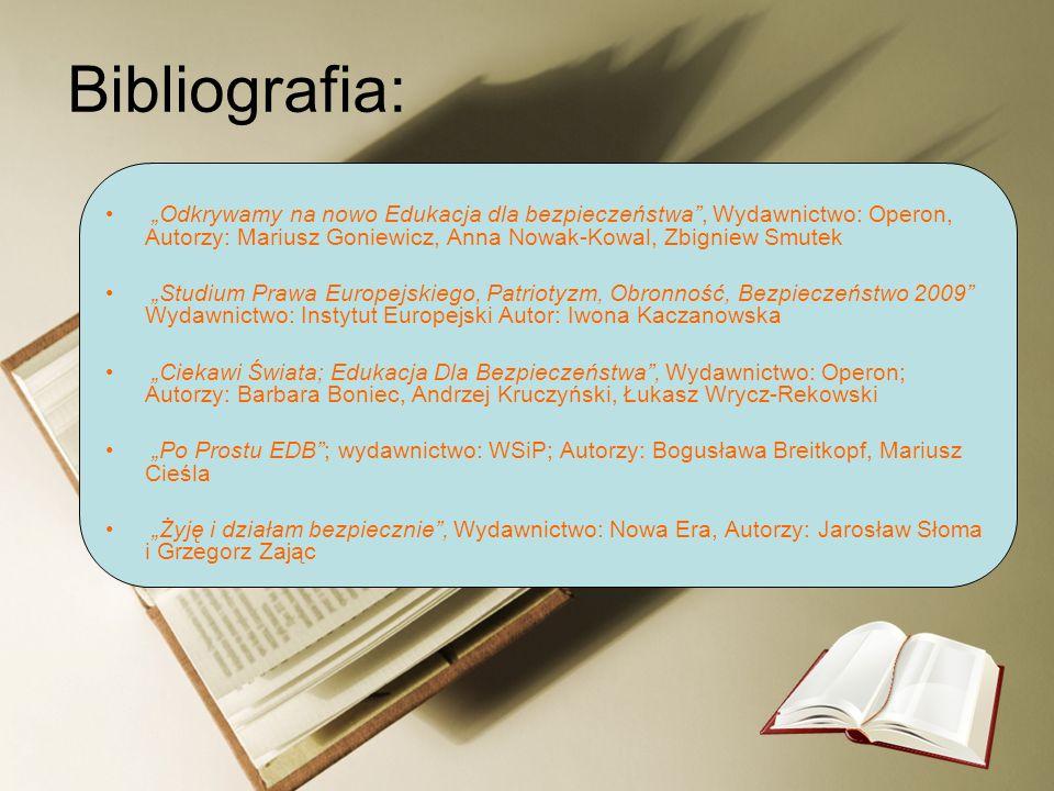 """Bibliografia: """"Odkrywamy na nowo Edukacja dla bezpieczeństwa , Wydawnictwo: Operon, Autorzy: Mariusz Goniewicz, Anna Nowak-Kowal, Zbigniew Smutek."""