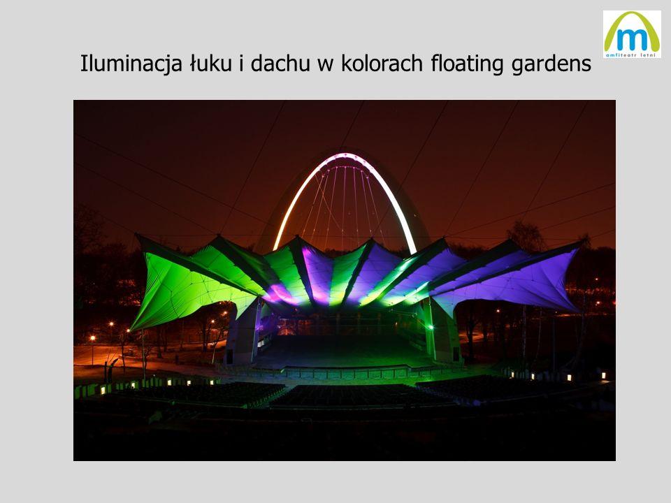 Iluminacja łuku i dachu w kolorach floating gardens