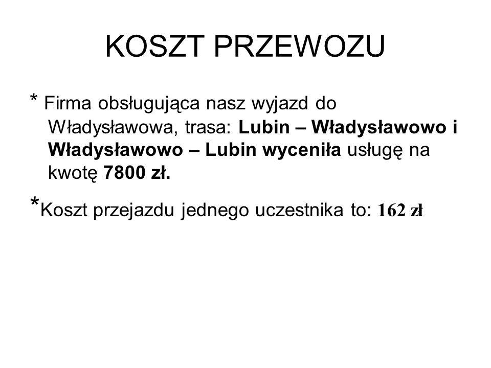 KOSZT PRZEWOZU *Koszt przejazdu jednego uczestnika to: 162 zł