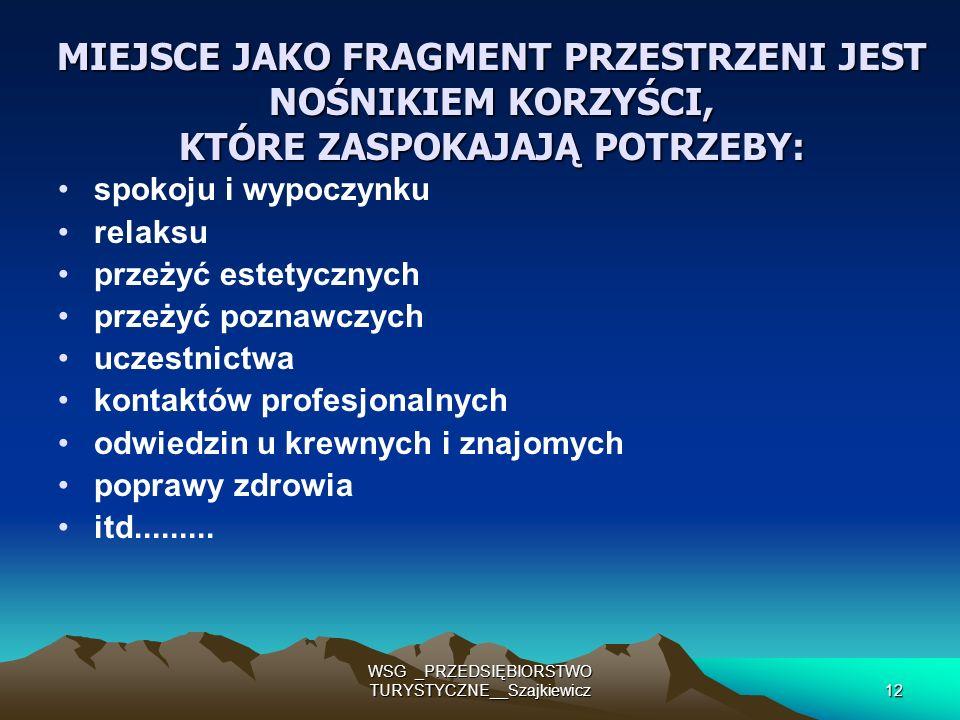 WSG _PRZEDSIĘBIORSTWO TURYSTYCZNE__Szajkiewicz