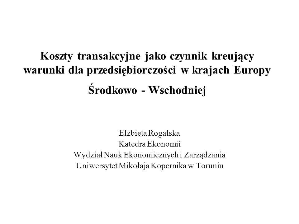 Koszty transakcyjne jako czynnik kreujący warunki dla przedsiębiorczości w krajach Europy Środkowo - Wschodniej