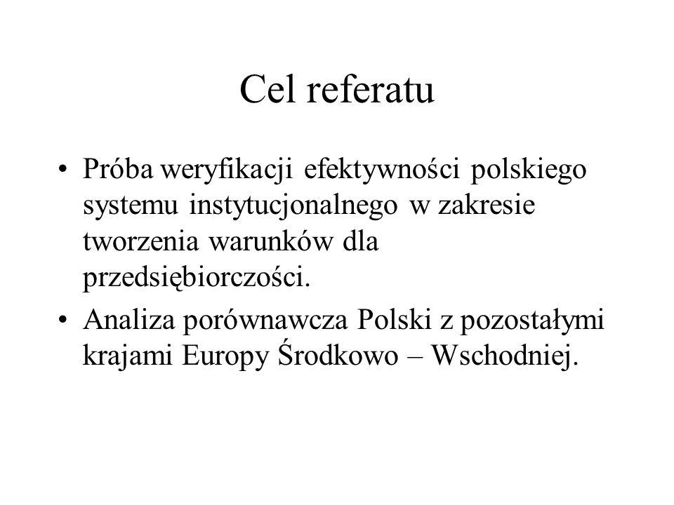 Cel referatuPróba weryfikacji efektywności polskiego systemu instytucjonalnego w zakresie tworzenia warunków dla przedsiębiorczości.