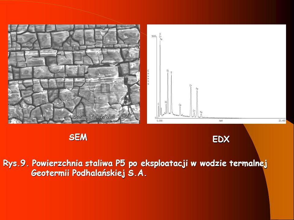 SEM EDX. Rys.9. Powierzchnia staliwa P5 po eksploatacji w wodzie termalnej.