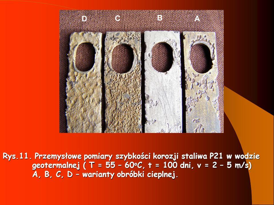 Rys.11. Przemysłowe pomiary szybkości korozji staliwa P21 w wodzie
