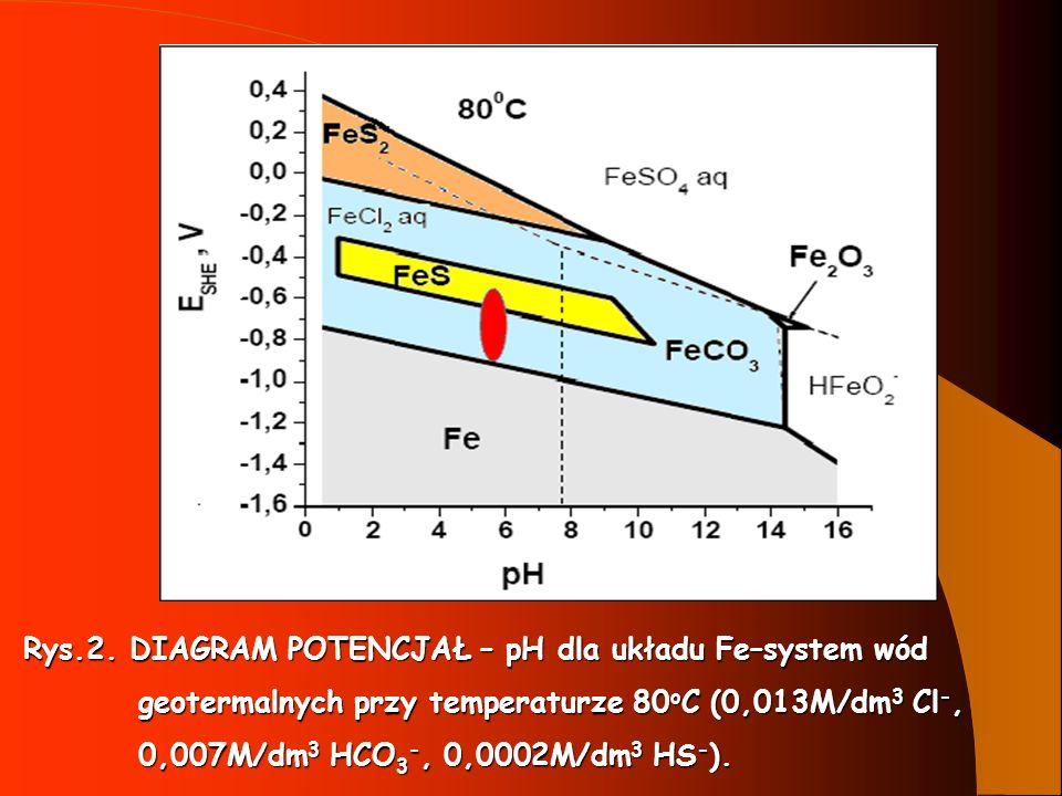 Rys.2. DIAGRAM POTENCJAŁ – pH dla układu Fe–system wód