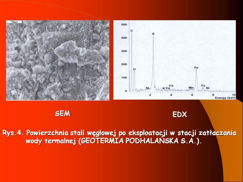 SEM EDX. Rys.4. Powierzchnia stali węglowej po eksploatacji w stacji zatłaczania.