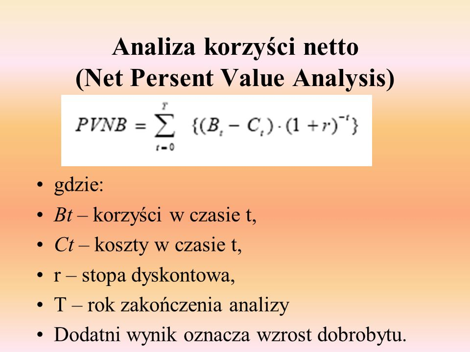 Analiza korzyści netto (Net Persent Value Analysis)