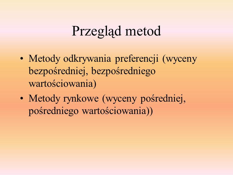 Przegląd metod Metody odkrywania preferencji (wyceny bezpośredniej, bezpośredniego wartościowania)