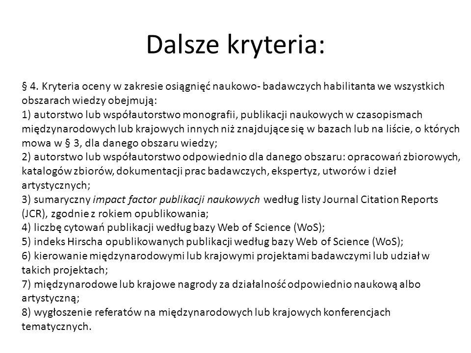 Dalsze kryteria: § 4. Kryteria oceny w zakresie osiągnięć naukowo- badawczych habilitanta we wszystkich obszarach wiedzy obejmują: