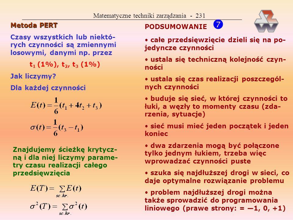 Matematyczne techniki zarządzania - 231