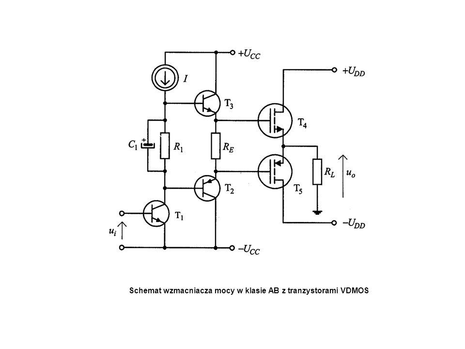Schemat wzmacniacza mocy w klasie AB z tranzystorami VDMOS