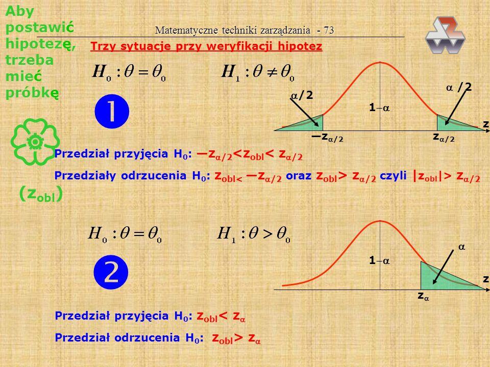 Trzy sytuacje przy weryfikacji hipotez