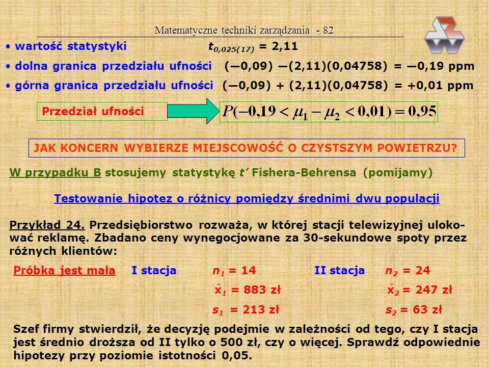 Testowanie hipotez o różnicy pomiędzy średnimi dwu populacji