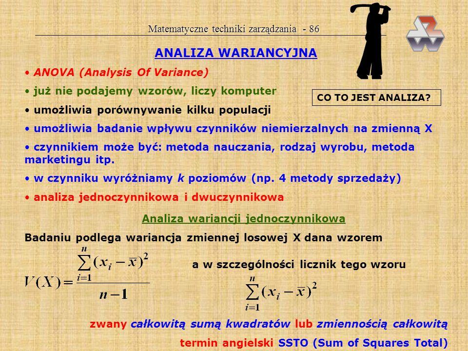 Analiza wariancji jednoczynnikowa