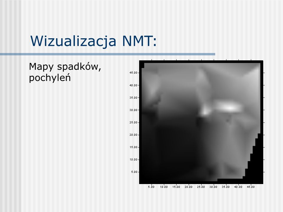 Wizualizacja NMT: Mapy spadków, pochyleń