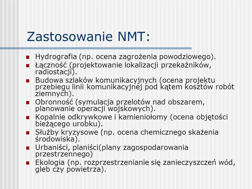 Zastosowanie NMT: Hydrografia (np. ocena zagrożenia powodziowego).
