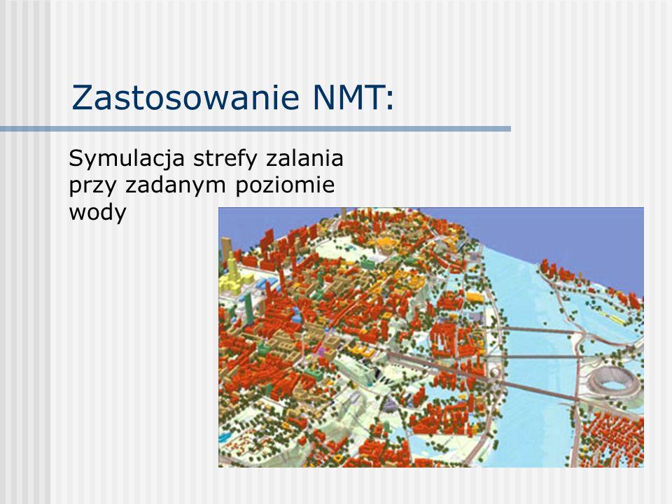 Zastosowanie NMT: Symulacja strefy zalania przy zadanym poziomie wody