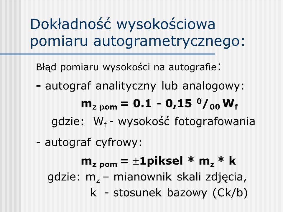 Dokładność wysokościowa pomiaru autogrametrycznego: